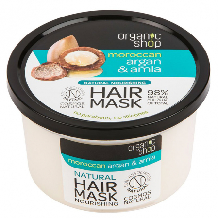 Masca hranitoare pentru par cu Argan Pur Marcoan si Coacaze Indiene, Organic Shop Hair Mask, Ingrediente 98% Naturale, 250 ml