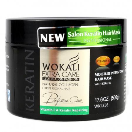 Masca profesionala pentru par degradat cu KERATINA, Colagen si Vitamina E, Wokali Extra Care, 500 g