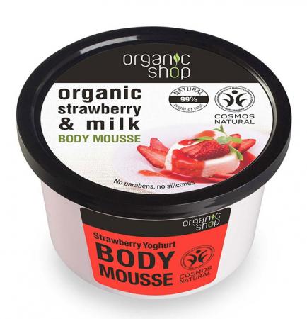 Mousse delicios pentru corp cu Iaurt de Capsuni, Organic Shop Body Mousse, Ingrediente 99% Naturale, 250 ml