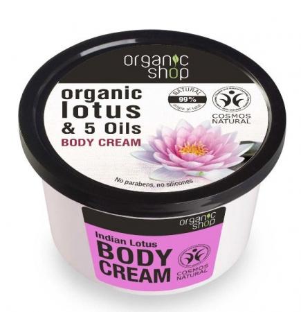 Crema de corp delicioasa cu Lotus Indian Organic Shop Body Cream, Ingrediente 99% Naturale, 250 ml