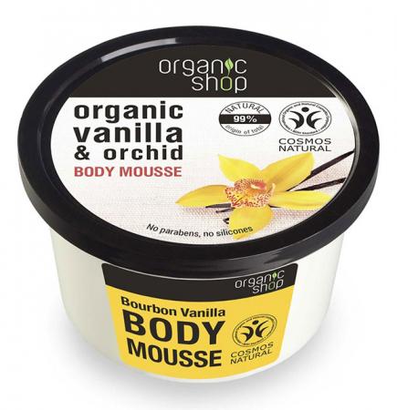 Mousse delicios pentru corp cu Vanilie Bourbon, Organic Shop Body Mousse, Ingrediente 99% Naturale, 250 ml