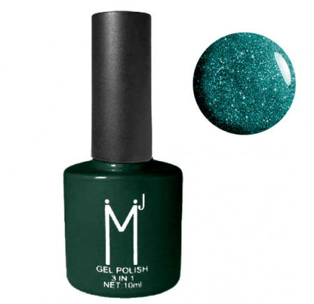 Oja semipermanenta cu sclipici 3 in 1, MJ Gel Polish, Nuanta 100, Enchanted Forest, 10 ml