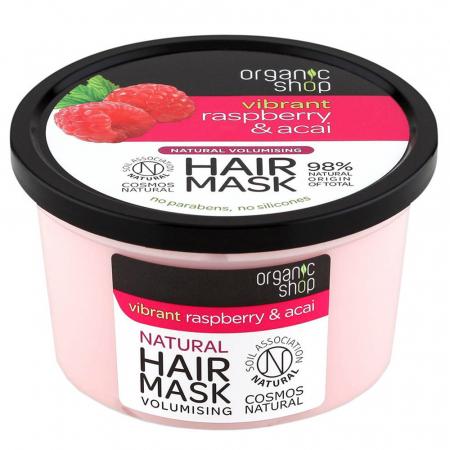 Masca pentru par cu Zmeura si Fructe Acai, Organic Shop Hair Mask, Ingrediente 98% Naturale, 250 ml