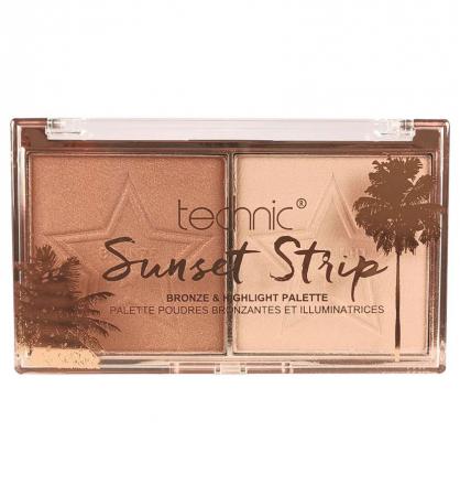 Paleta Iluminatoare Bronzanta TECHNIC Sunset Strip Bronze & Highlight Palette