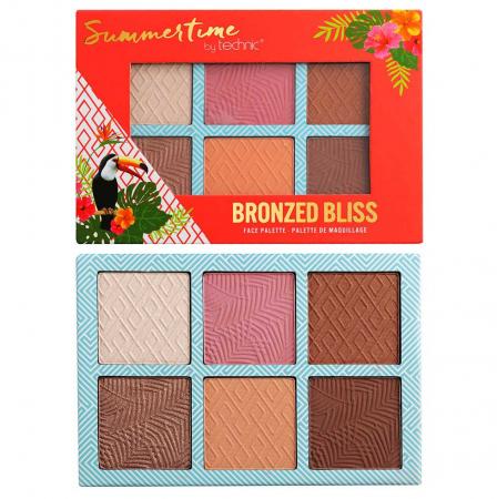 Paleta bronzanta iluminatoare TECHNIC Summertime - Bronzed Bliss, 6 culori, 2 x 3.6 g0