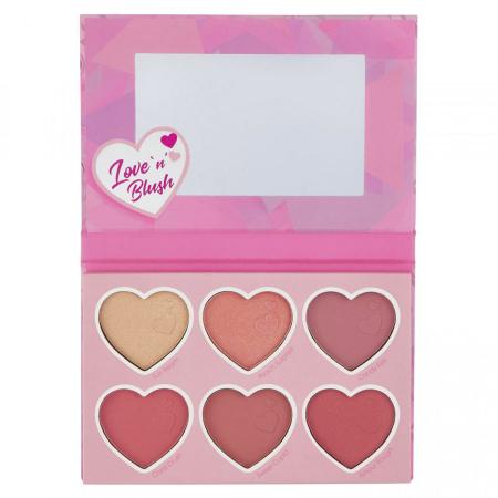 Paleta Farduri Pentru Obraz SUNKISSED Love 'n' Blush Palette, 6 x 4.2 g