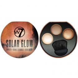 Paleta cu Iluminatoare Bronzante W7 Solar Glow Bronzer Shimmer & Highlighter, 3x3g2