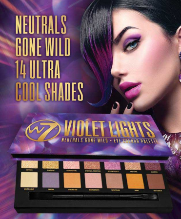 Paleta farduri W7 Violet Lights Neutrals Gone Wild, 14 culori, 9.6g4