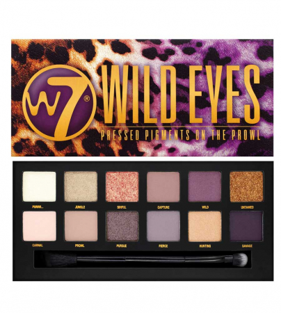 Paleta Profesionala de Farduri W7 Wild Eyes Pressed Pigments On The Prowl, 12 culori, 12 g