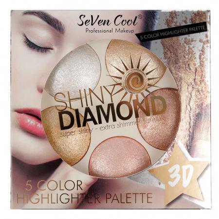 Paleta Profesionala Iluminatoare, Shiny Diamond 5 Color Highlighter Palette 3D, 15 g2