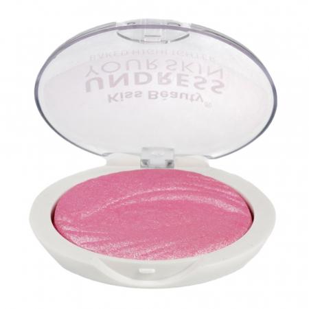 Paleta Iluminatoare Kiss Beauty UNDRESS Your Skin Baked Highlighter, 02 Pink Ice Cream, 15 g