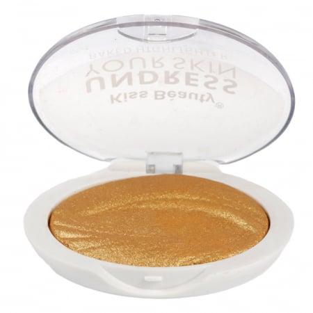 Paleta Iluminatoare Kiss Beauty UNDRESS Your Skin Baked Highlighter, 03 Gold Bronze, 15 g