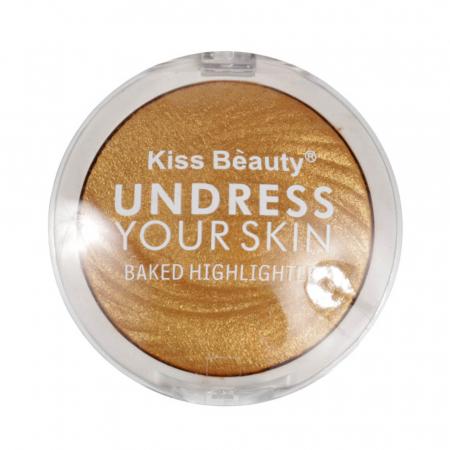 Paleta Iluminatoare Kiss Beauty UNDRESS Your Skin Baked Highlighter, 03 Gold Bronze, 15 g1