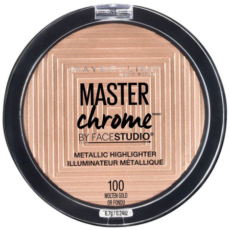 Paleta Iluminatoare Maybelline New York Master Chrome Metallic, 100 Molten Gold, 9 g