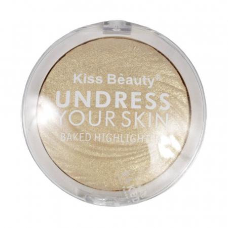 Paleta Iluminatoare Kiss Beauty UNDRESS Your Skin Baked Highlighter, 01 Gold Vanilla, 15 g - Copie1