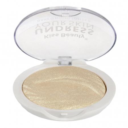 Paleta Iluminatoare Kiss Beauty UNDRESS Your Skin Baked Highlighter, 01 Gold Vanilla, 15 g