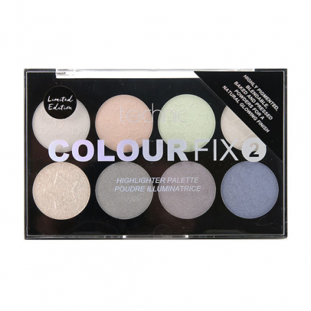 Paleta Profesionala cu 8 Iluminatoare Pudra TECHNIC Colour Fix 2 Highlighter, Limited Edition0