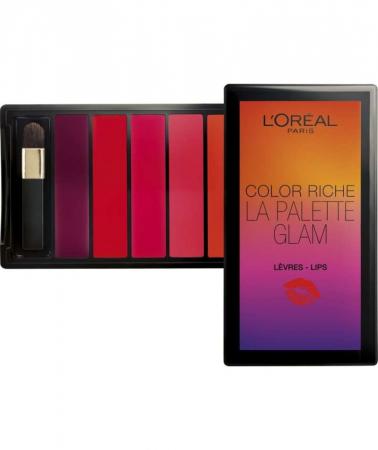 Paleta pentru buze cu 6 rujuri L'Oreal Paris Color Riche LA PALETTE GLAM, 6 x 1 g