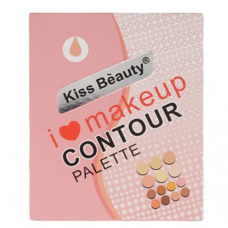 Paleta profesionala cu 14 corectoare cremoase, Kiss Beauty I Love Makeup, Contour Palette, 022