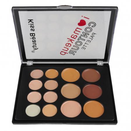 Paleta profesionala cu 14 corectoare cremoase, Kiss Beauty I Love Makeup, Contour Palette, 020