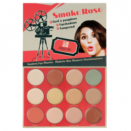 Paleta profesionala cu 12 corectoare cremoase, BB Rose Cosmetics, Smoke Rose, 25 g