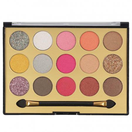 Paleta Profesionala de Farduri MISS ROSE, 15 Color Eyeshadows Kit, 01