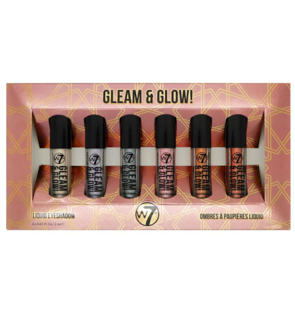 Set Cadou Farduri pentru Pleoape W7 Gleam & Glow! Liquid Eyeshadow Set, 6 x 2 ml