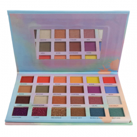 Paleta Profesionala de Farduri Glamierre, Island Babe, 24 Ultra Pigmented Eyeshadows & Glitters2