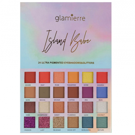 Paleta Profesionala de Farduri Glamierre, Island Babe, 24 Ultra Pigmented Eyeshadows & Glitters0