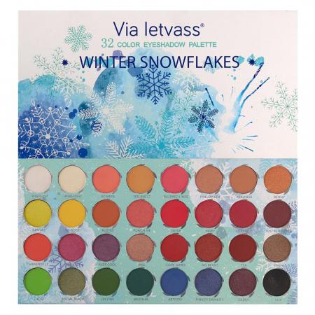 Paleta Profesionala de Farduri WINTER SNOWFLAKES Via Letvass, 32 Color Eyeshadow Palette, 32 x 1.5 g