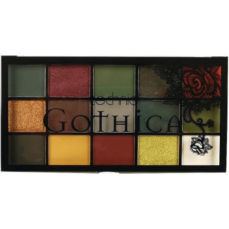 Paleta Profesionala de Farduri Technic 15 Pressed Pigment Palette, GOTHICA, 15 Culori, 30 g