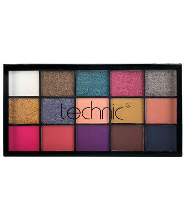 Paleta Profesionala de Farduri Technic 15 Pressed Pigment Palette, Vacay, 15 Culori, 22.5 g1