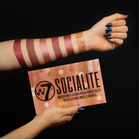 Paleta Profesionala de Farduri W7 Socialite Pigment Palette, 18 Culori, 17 g5