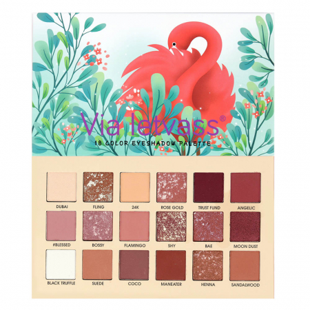 Paleta Profesionala de Farduri Flamingo Via Letvass, 18 Color Eyeshadow Palette, 18 x 1.5 g