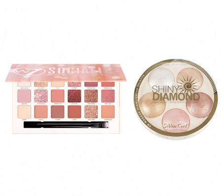 Set Makeup Paleta Profesionala de Farduri W7 Socialite Pigment Palette & Paleta Iluminatoare, Shiny Diamond 5 Color Highlighter Palette 3D