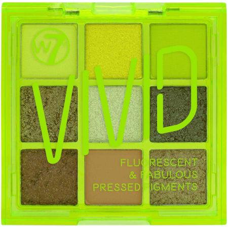 Paleta Profesionala de Farduri W7 Vivid Pressed Pigment Palette Glowin' Green, 9 culori, 9 g