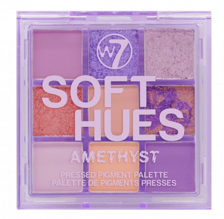 Paleta Profesionala de Farduri W7 Soft Hues Pressed Pigment Palette, Amethyst, 9 culori, 8.1 g