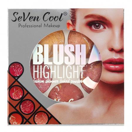 Paleta Profesionala Blushuri Iluminatoare, Seven Cool Blush 5 Color Highlighter Palette, 15 g2