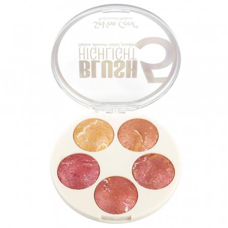 Paleta Profesionala Blushuri Iluminatoare, Seven Cool Blush 5 Color Highlighter Palette, 15 g1