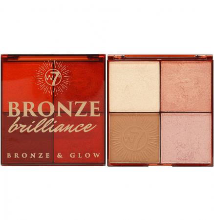 Paleta Profesionala pentru Bronzare, Contur si Iluminare W7 Bronze Brilliance Bronze & Glow Palette, 64 g0