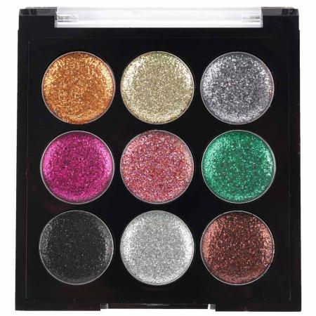 Paleta Sclipici cu 9 Glittere Multifunctionale USHAS Rainbow Glitter, 03