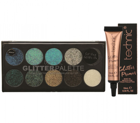 Set Paleta Technic Glitter Palette, Mermaid cu Primer pentru Aplicare Profesionala