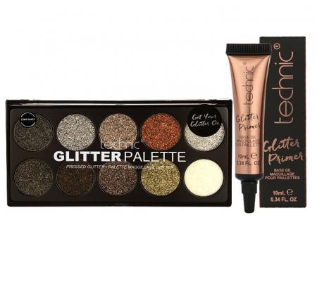 Set Paleta Technic Glitter Palette, Star Dust, cu Primer pentru Aplicare Profesionala