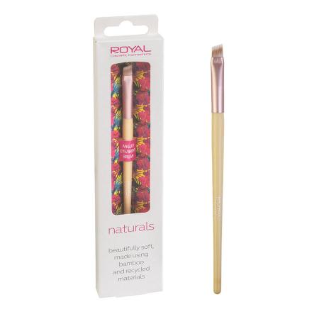 Pensula unghiulara din bambus pentru sprancene ROYAL Natural Angled Eye/Brow Brush, 100% Eco-friendly0