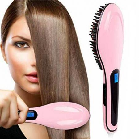 Perie ceramica cu display LCD pentru indreptat parul Fast Hair Straightener HQT, roz1