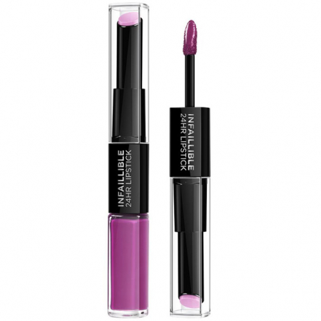 Ruj lichid rezistent la transfer L'Oreal Paris Infaillible 24H Duo Lip, 216 Permanent Plum, 5.6 ml