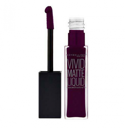 Ruj lichid mat Maybelline New York Color Sensational Vivid Matte Liquid, 47 Deepest Plum, 8 ml