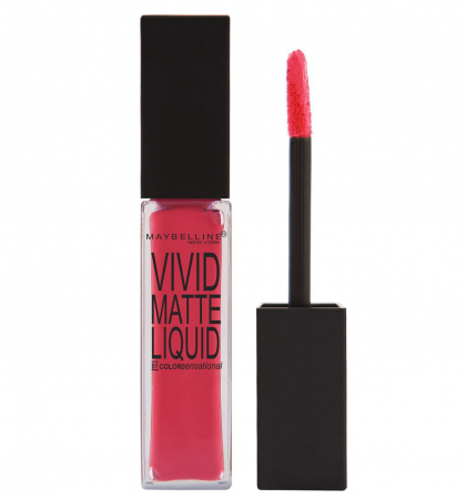 Ruj lichid mat Maybelline New York Color Sensational Vivid Matte Liquid, 20 Coral Courage, 8 ml