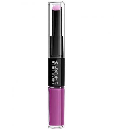 Ruj lichid rezistent la transfer L'Oreal Paris Infaillible 24H Duo Lip, 216 Permanent Plum, 5.6 ml4