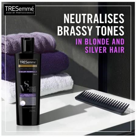 Sampon profesional tonifiant cu extract de perle si pigment violet TRESemme' Violet Blond Shine, pentru par blond sau argintiu, 250 ml1